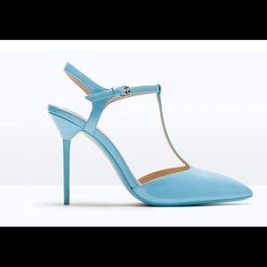 Zara baby blue t-bar heels ankle strap
